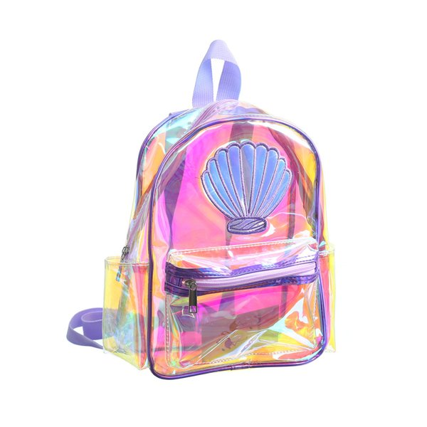Women Mermaid Laser Backpack Bag Cartoon Shell Backpack Sports Shoulder Bag Outdoor Storage Bag Travel Kids school bags