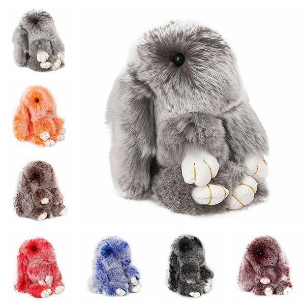 Real Rex Rabbit Bunny Keychain Rabbit Fur Pom Pom Portachiavi per donne Trinket Rabbit Toy Doll Bag Car Portachiavi Mostro Portachiavi