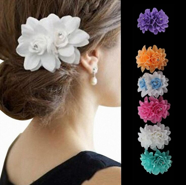 Tatyking White Double Rose Flower Side Clip Dance Performance Hair Accessories Bride Wedding Water Drill Flower Hair Clip PH0162