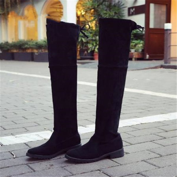 2019 Spring/Autumn Flock Over-the-Knee Lace-Up Over knee boots Round Toe Increased suede women's boots