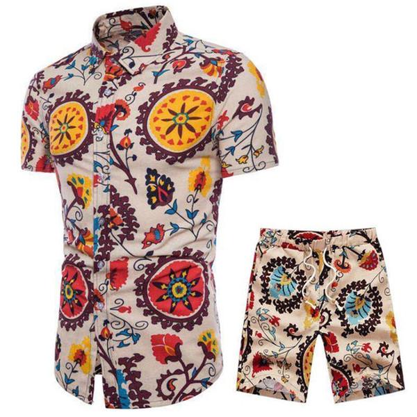 Plus Size Men Suit Novelty Streetwear 2019 Beach Party Track Suits 4XL 5XL Cool Floral Print Sets Vintage Flower Male Tracksuits
