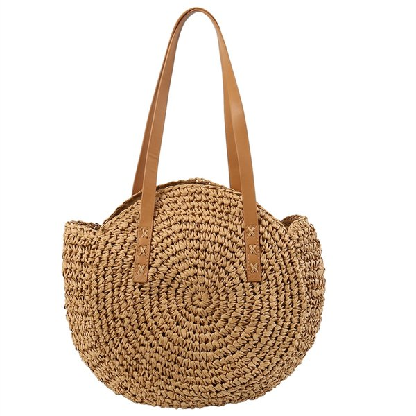 Beach Bag Hand-woven Rattan Straw Bag Bohemian Summer Round Handbag Travel Shopping Female Tote Wicker Bags #34587