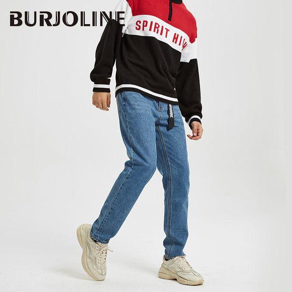BURJOLINE Otoño Invierno Pantalones Vaqueros rectos de American Casual Cotton Juvenil Pantalones salvajes B9210