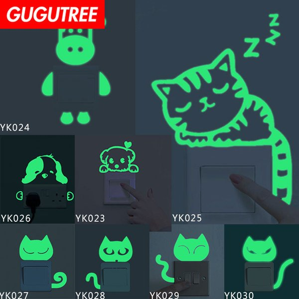 Decorate Home Diy cats dogs cartoon art glow wall sticker decoration Decals mural painting Removable Decor Wallpaper G-507
