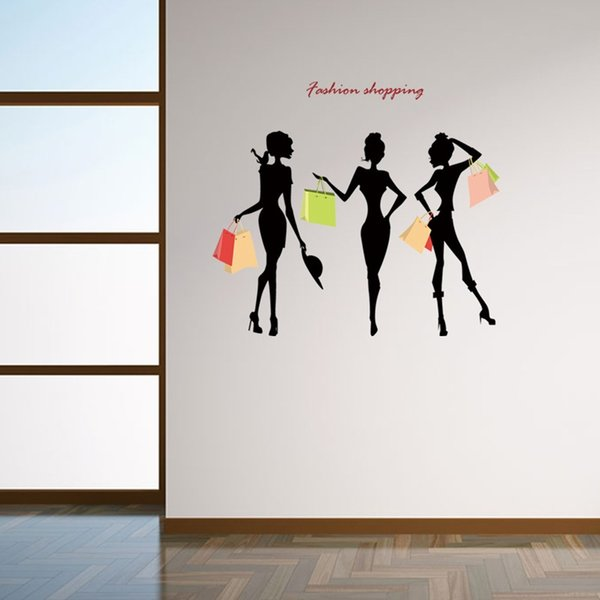 Fashion Shoppoing Wall Decal DIY Creative Fashion Art Sticker for Girls Room and Dressing Room Decor Girls Gift