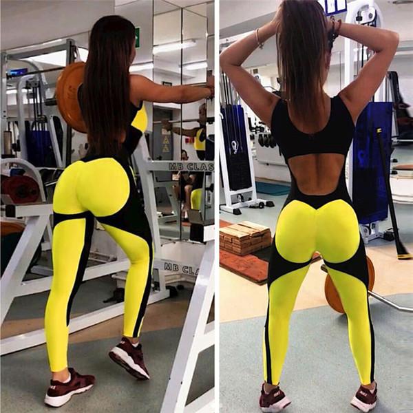 Bayan yaz yoga clothing marka kadın seksi halter mesh dikiş tasarımcı yoga tulum spor stil skinny tulumlar