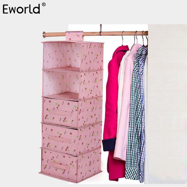 Eworld Multilayer Wardrobe Hanging Storage Organizer Moistureproof Clothes Underwear Storage Bag Magic Tape Closet Container Box