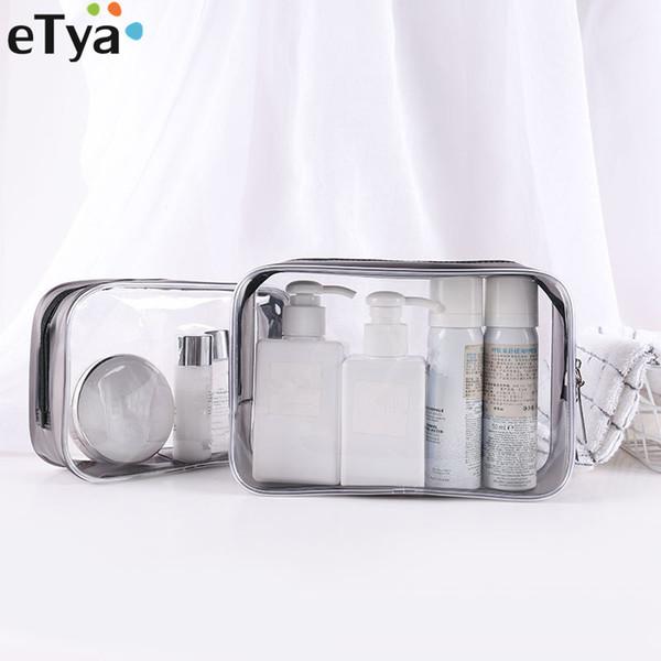 eTya PVC Clear Travel Maquillaje Bolsa Caja Cremallera Pequeño Grande Mujer Cosmética Bolsa Artículos de tocador Baño Bolsa de almacenamiento Bolsas