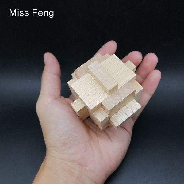 SQ070 / legno Forma geometrica Montessori Cage Puzzle per il capretto Giocattoli scuola Learning gioco educativo Kong Ming blocco