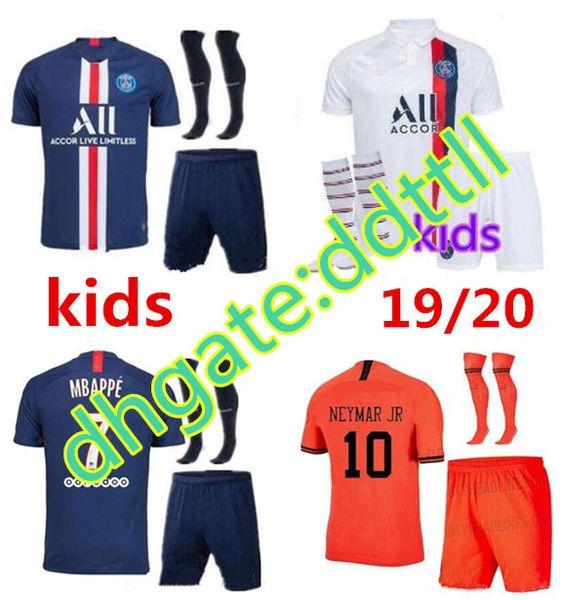 New Kids PSG kit set calzini jersey Calcio Maglia bambini 2019 2020 del gioco del calcio Maglia piede bambini Mbappe DI MARIA camicia bianca maglia rossa