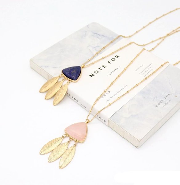 Feather Tassels Triangle Rose Pink Quartz Lapis Lazuli Natural Stone Pendant Necklaces Geometric Dress Accessories Jewelry
