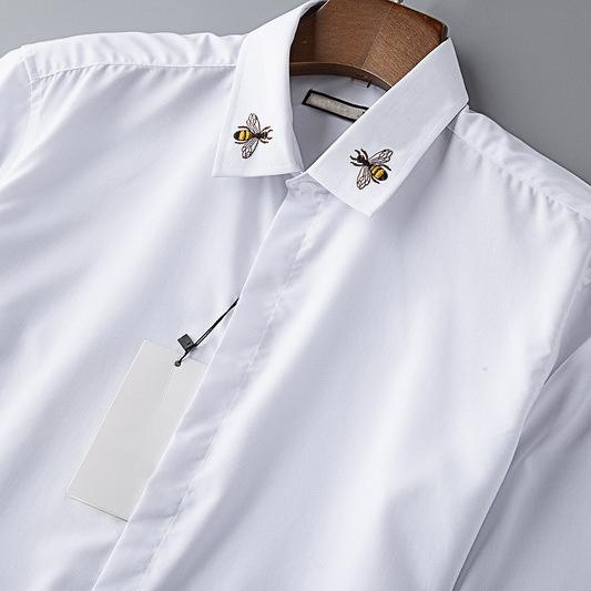 Autumn New Designer Mens Shirts Fashion Casual High Noble Queen Bee Embroidery White Business Office Shirt Long Sleeve Brand Blouse B100220V