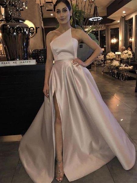 Elegante Prom Dress 2020 A-Line raso al largo della spalla Alta Leg fessura Dubai Arabia arabo lungo abito di sera