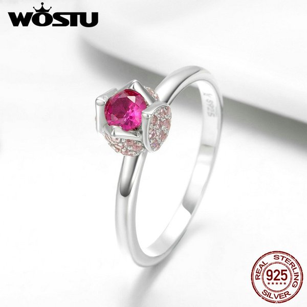 wholesale Authentic 925 Sterling Silver Engagement Birthday Red Blssom With You Rings For Women Brand Fine Jewelry Gift FIR455