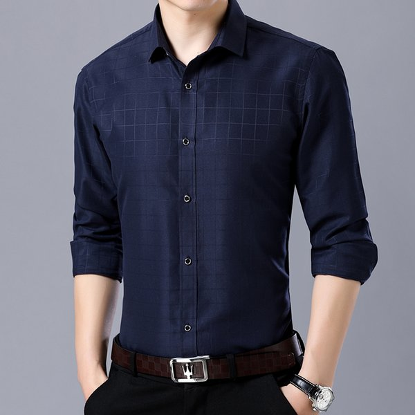 2019 neue obskure plaid print business casual männer lange ärmel shirt mode männer einfache slim fit dress shirt camisa masculina