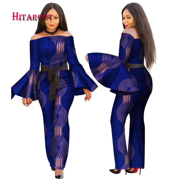 2018 African Print Women Jumpsuit Slash-Neck Long Horn Sleeve Sexy Romper Wide Leg Pants African Ladies Jumpsuits Rompers WY2634