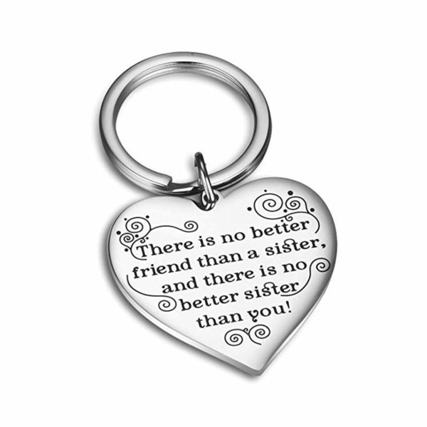 Fashion Accessories Best Sister Heart Pendant Keychain Letters Key Chain Key Ring Jewelry for Sister Best Friend Birthday Gift