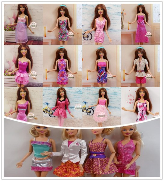 Factory Wholesale 100pcs/lot Original Brand Doll Clothing Outfits Fashionable Dress For Barbies Doll Casual Dress Suits Clothes
