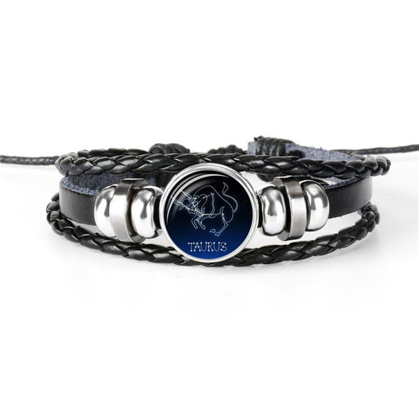 European Braided Handmade Leather Rope Beaded Bracelet for Women Men Jewelry 12 Constellations Zodiac Taurus Time Gem Glass Cabochon Bangles