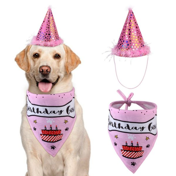 2020 Pets Birthday Hat Saliva Towel Set New Practical New Dog Pet Birthday Party Hat Dog Age Anniversary Party Saliva Towel Set