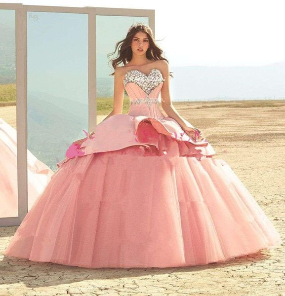 2019 Elegante Querida Strass Quinceanera Vestidos De Baile Pêssego Tulle Doce 18 Ocasião Formal Evening Prom Dresses Custom Made