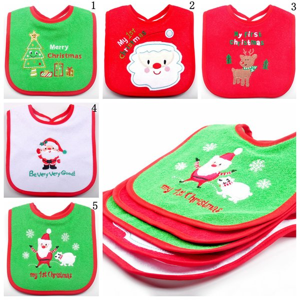 Christmas Baby Bibs Cute Cartoon Embroidered Toddler Saliva Towel Infant Feeding Burp Cloths Home Clothing 200pcs OOA5989