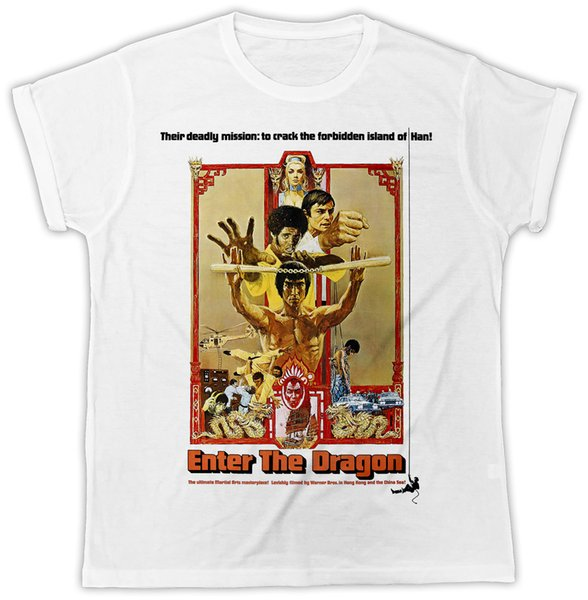 BRUCE LEE ENTRA NEL DRAGON POSTER IDEAL REGALO COOL RETRO MENS BIANCO T-SHIRT