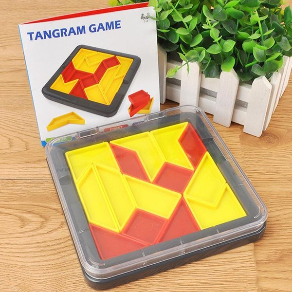 Square Children's Jigsaw Puzzle Exercise Intelligence Thinking Game Pieces-in Toys Storage Box Kids Interactive Tangram