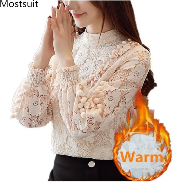 Addensare pizzo Blusas Feminino donne autunno inverno caldo elegante ufficio camicette donna manica lunga stand collare pullover top 2019