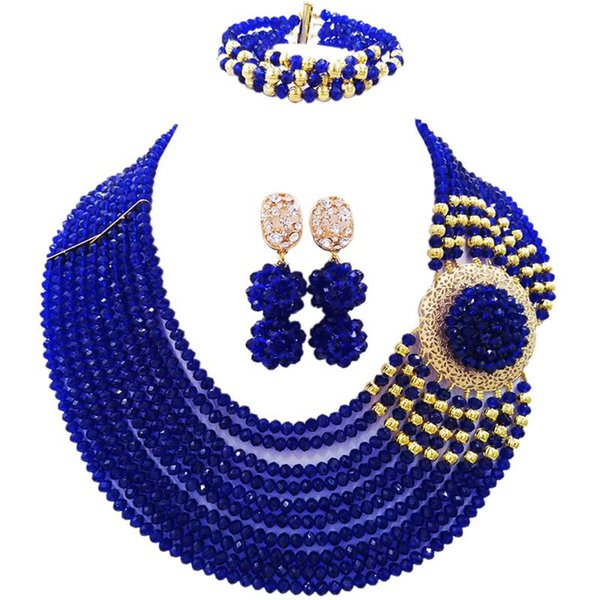 Well Received Royal Blue African Women Crystal Beads Necklace Jewelry Sets for Anniversary 10C-DPH-25