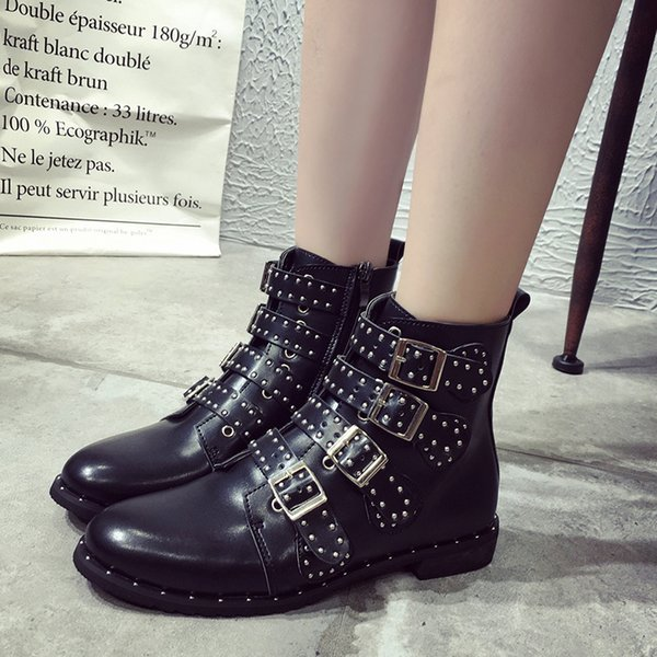 Women's boots 2019 Europe and the United States explosion trend Martin boots pointed fashion metal rivet belt buckle motorcycle boots