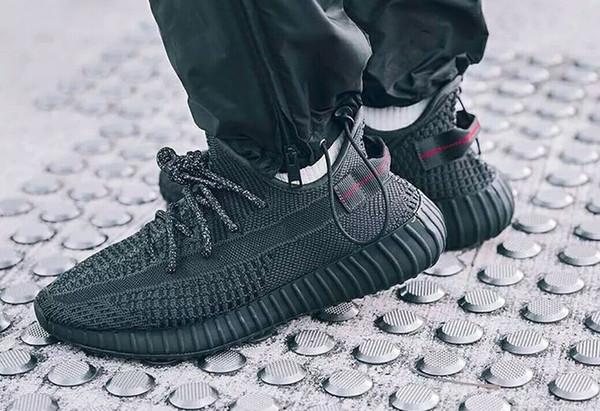 Es cierto barato Formulario hiperespacio arcilla V2 estático todo blanco gid ángel negro negro zapatillas hombres Kanye West zapatillas de deporte de las mujeres de los deportes SIZE36-45