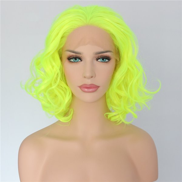 Free Shipping Yellow Color 14inch High Density Heat Resistant Body Wave Hair Short Cosplay Party Synthetic Lace Front Wig for Women Present