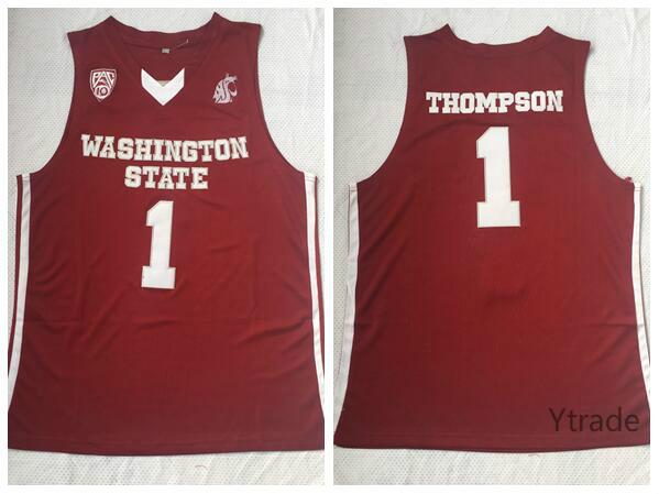 new arrival c0680 81ca0 Thompson Vintage NCAA Klay Washington State Cougars Jerseys Mens Red No.1  Thompson College Basketball Jerseys Shirts Stitched S-2XL
