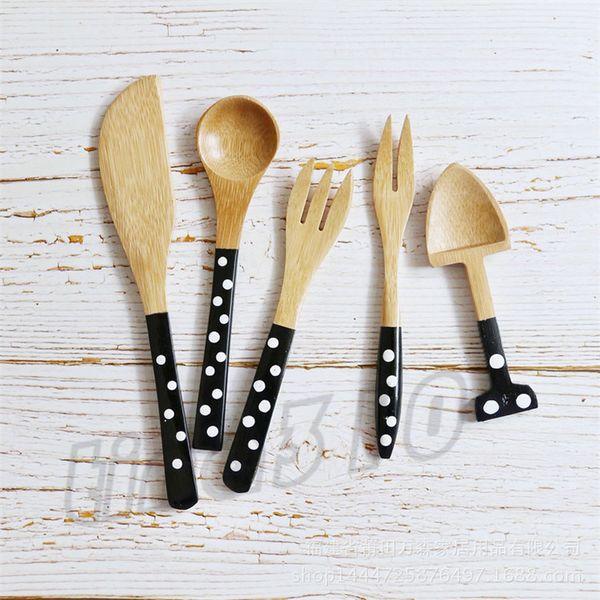 Dot Modische schöne einfache Geschirr Handgemachte Persönlichkeit Löffel Gabel Startseite Geschirr Küche Kantine Geschirr Zubehör T9I0050