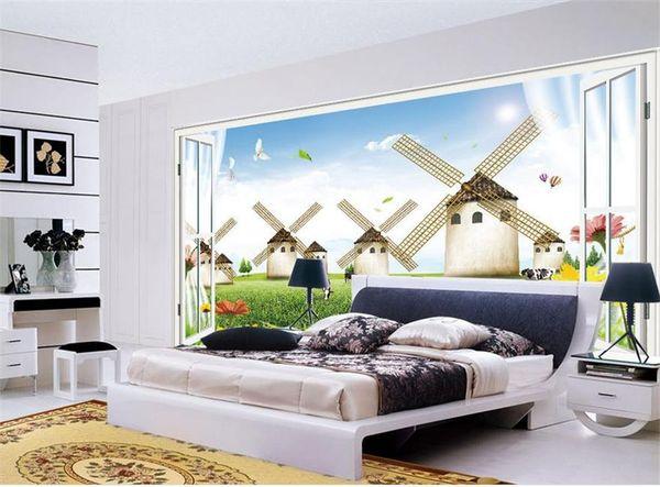 Großhandel Sondergröße 3D Fototapete Wohnzimmer Schlafzimmer Wandbild  Niederlande Windmühle 3D Fensterbild Sofa TV Hintergrund Tapete Vlies  Aufkleber ...