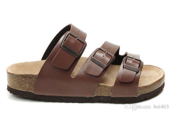 Famosa Marca Arizona Sandálias Lisas Dos Homens s Mulheres Sapatos Casuais Femininos Três Fivela Chinelo De Verão Chinelos De Couro Genuíno Com /; l/; l /; l / l /.