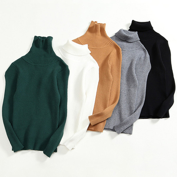 best selling baby & kids girls turtleneck solid ribbed pullover casual sweater children girl fashion fall spring winter base sweaters clothes