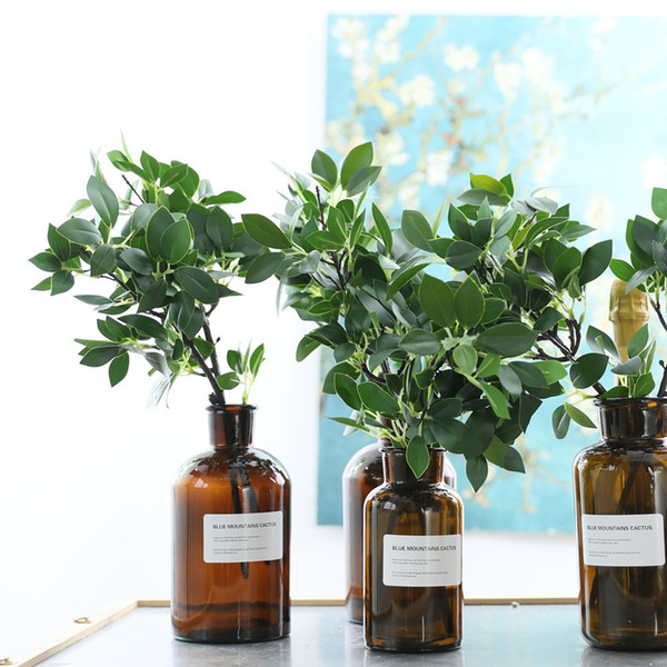 Luxury Ficus Twig Short Artificial Tree Branch Green Leaves Home Wedding Decoration Flower Plastic Fake Plants Faux Foliage