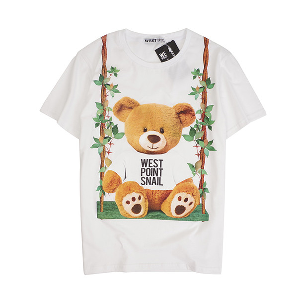 2019 latest HOT best Quality Swing Bear Printing Classic style HOT SELL Summer clothes Short sleeved Fashion Trend JOKER T-SHIRTS TOPS