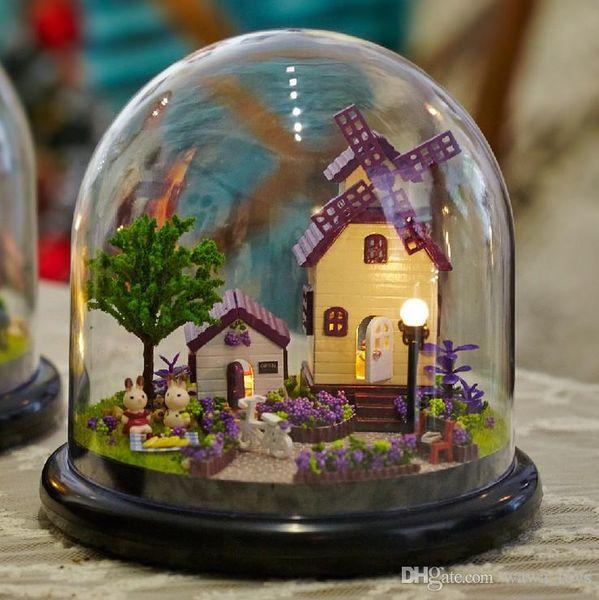 Para sempre o amor casa de bonecas de madeira casas de boneca em miniatura de montagem casa de bonecas diy bola de vidro toys kit totoro figura presente do dia dos namorados