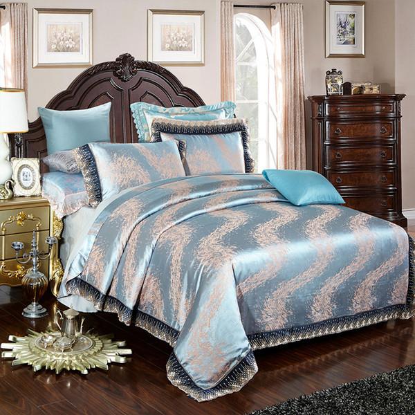 Luxury jacquard silk cotton bed linen blue satin bedding set/bedspread queen king size duvet cover sheet set 4pcs 28