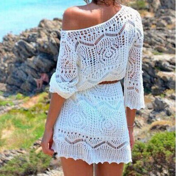 New Sexy Hook Flower Blouse Beach Cover-up Hollow Out Knit Dress Summer Swimming Bikini Overwear Solid 2019 Fashion Set No Belt