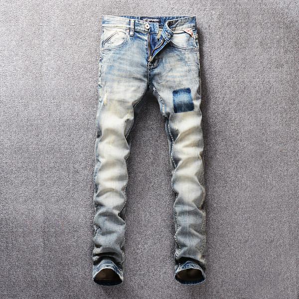 SHABIQI marca 2019 nuovi jeans moda uomo casual stretch jeans sottili pantaloni classici denim pantaloni RL643