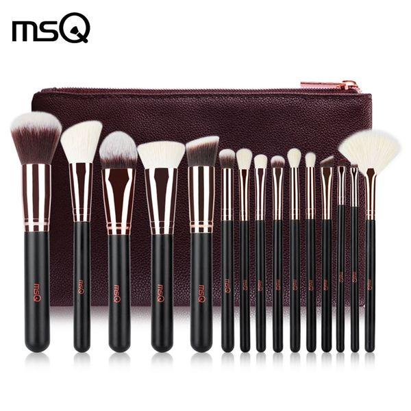 MSQ 15pcs Makeup Brushes Set Powder Foundation Eyeshadow Make Up Brushes Cosmetics Soft Synthetic Hair With PU Leather Case Free Ship BV
