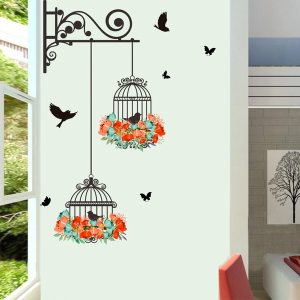 Wall Stickers Home Wall Decor Birdcage For Kids Room Bedroom Decoration Diy Bird Butterfly Poster Mural Wallpaper Wall Decals Wall Applique Wall