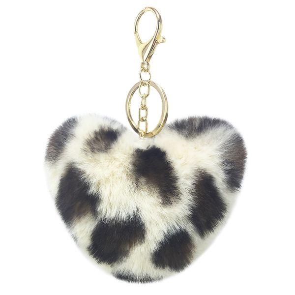 New Leopard Print Plush Peach Heart Car KeyChain Pendant Modeled Rabbit Fur