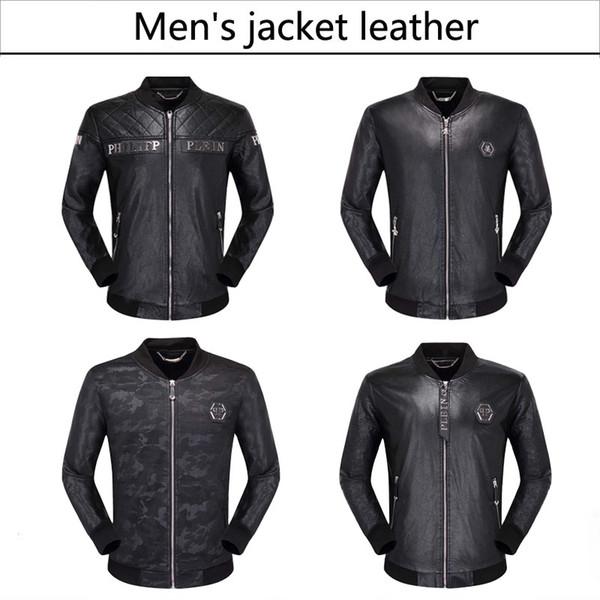2019 célèbre marque mens fausse fourrure manteaux vêtements mode pilote moto importés pp crâne en cuir veste hommes slim fit manteau