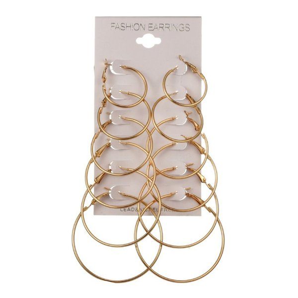 Big Circle Smooth Large Hoop Earring 6Pairs Women Round Metal Ring Earrings Party Night Club Gold Silver Hyperbole Casual Chic