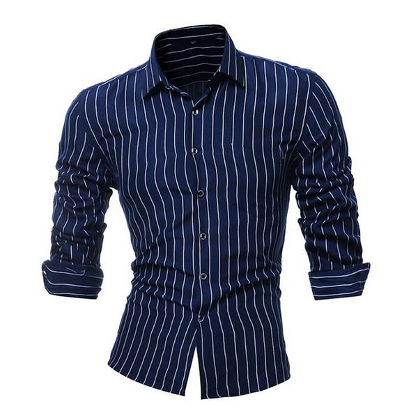 MoneRffi Мужчины С Длинным Рукавом Повседневная Рубашка Slim Fit Бизнес Топы Hombre Camisa Уличная Одежда Платье Твердые Вертикальные Полосы Одежда